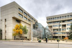 Exterior view of the Edmonton law courts.