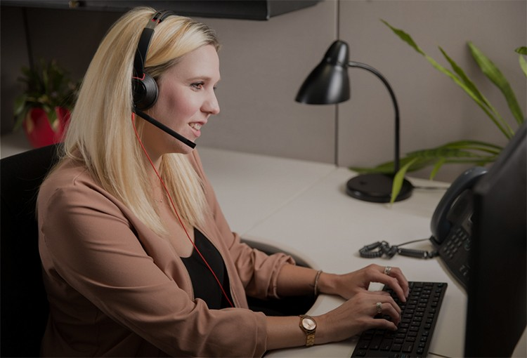 Woman working at a call centre